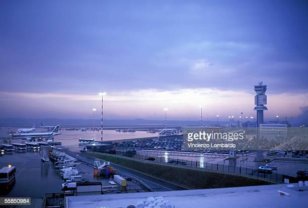 Italy, Lombardy, Milan, Malpensa Airport, Dusk