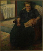 Italy Lombardy Milan Museo del Novecento Whole artwork view Portrait of Mrs Virginia Procida sitting in an armchair On her knees a sleeping dog In...