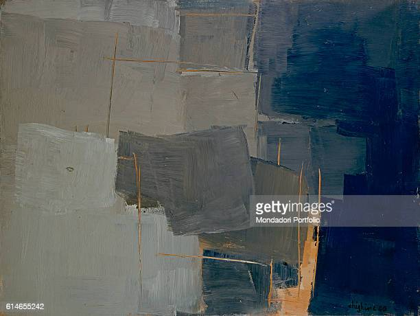 Italy Lombardy Milan Museo del NovecentoGeometrical composition in grey and blue