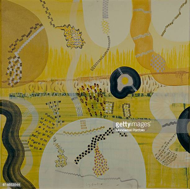 Italy Lombardy Milan Museo del NovecentoMarks and dark strokes on yellow background recalling the rythms and the frenzy of a motorway
