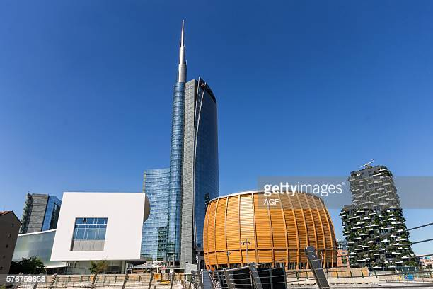 Italy Lombardy Milan Porta Nuova Unicredit Tower and Pavilion