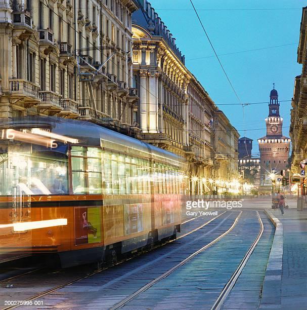 Italy, Lombardy, Milan, tram at dusk (long exposure)