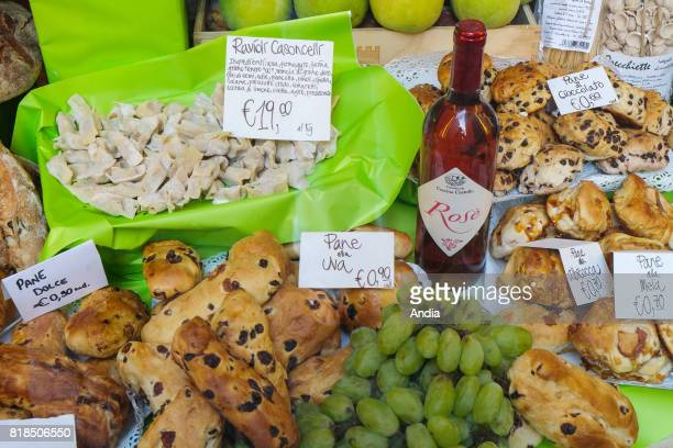 stall of local culinary specialities in Bergamo in the Po Valley