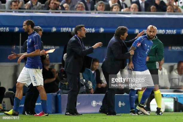 Italy manager Antonio Conte brings on Simone Zaza as a substitute late in the game