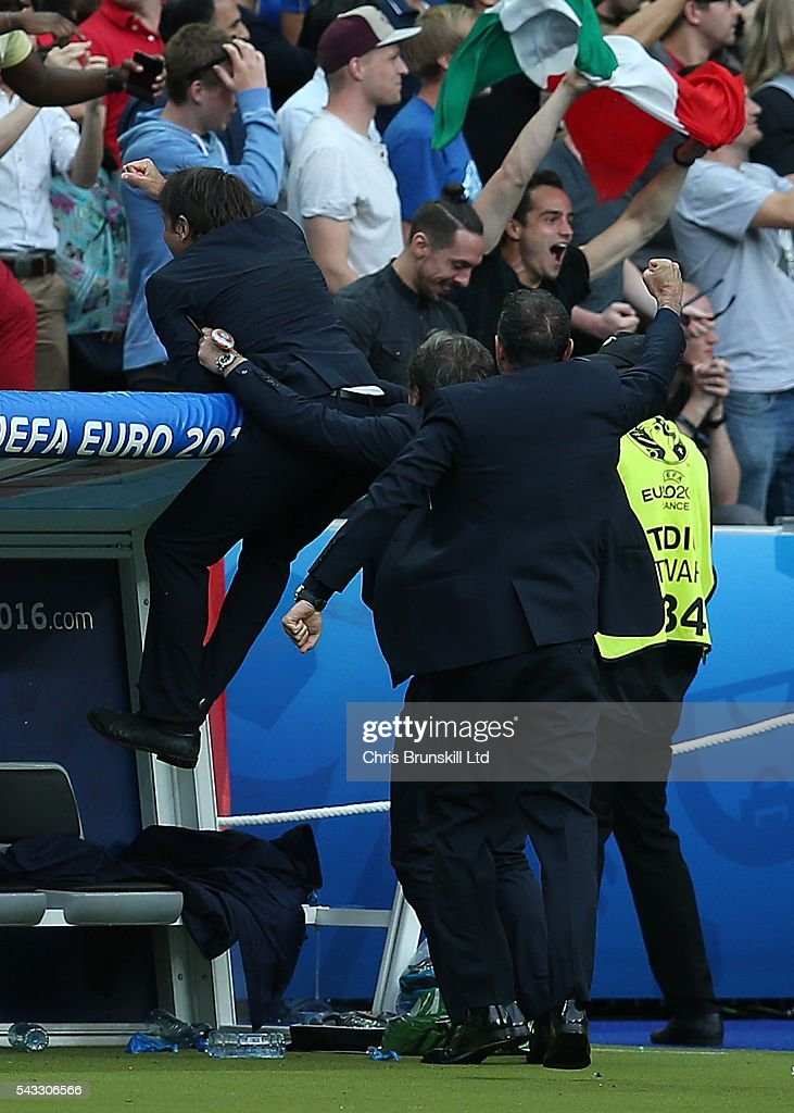 Italy manager <a gi-track='captionPersonalityLinkClicked' href=/galleries/search?phrase=Antonio+Conte&family=editorial&specificpeople=2379002 ng-click='$event.stopPropagation()'>Antonio Conte</a> celebrates his side's second goal during the UEFA Euro 2016 Round of 16 match between Italy and Spain at Stade de France on June 27, 2016 in Paris, France.