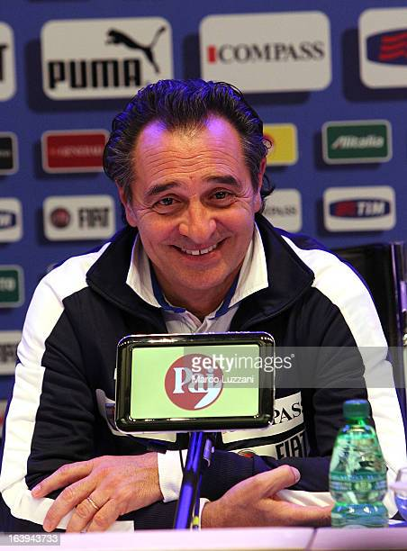 Italy manager Cesare Prandelli attends a press conference ahead of their international friendly match against Brazil at Coverciano on March 18 2013...