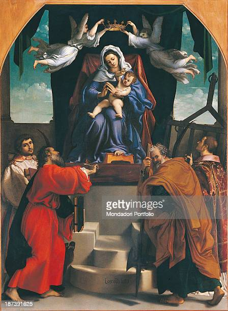Italy Marche Ancona Pinacoteca Civica Francesco Podesti e Galleria Comunale d'Arte Moderna All The Virgin Mary with a blue robe and white veil...