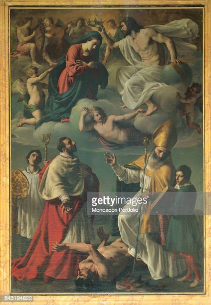 Italy Marche Camerino basilica di San Venanzio Whole artwork view Up in the sky on a cloud Jesus Christ crowning the Virgin Mary Below Charles...