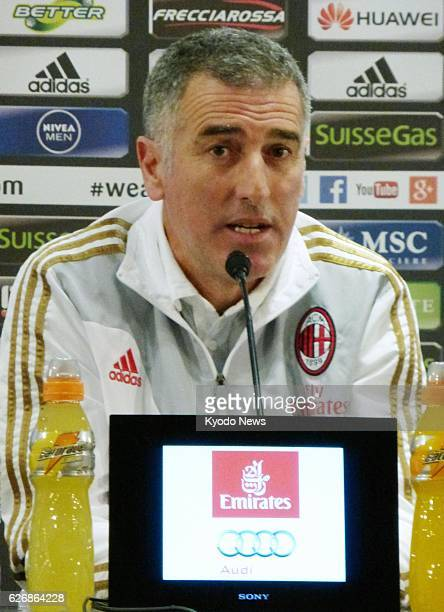 MILAN Italy Mauro Tassotti temporarily in charge of the Italian Serie A soccer club AC Milan after former coach Massimiliano Allegri was fired holds...