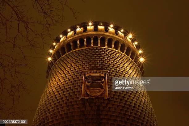 Italy, Milan, Castello Sforzesco, illuminated at night, low angle view