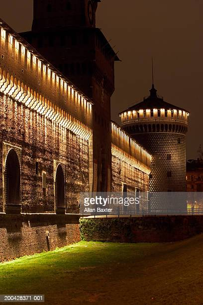 Italy, Milan, Castello Sforzesco, illuminated at night