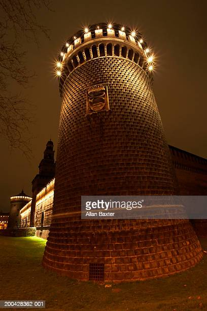 Italy, Milan, Castello Sforzesco tower, illuminated at night