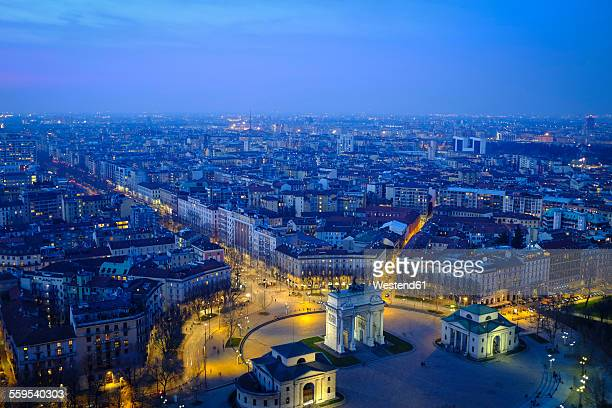 Italy, Milan, cityscape with Arco della Pace in the evening