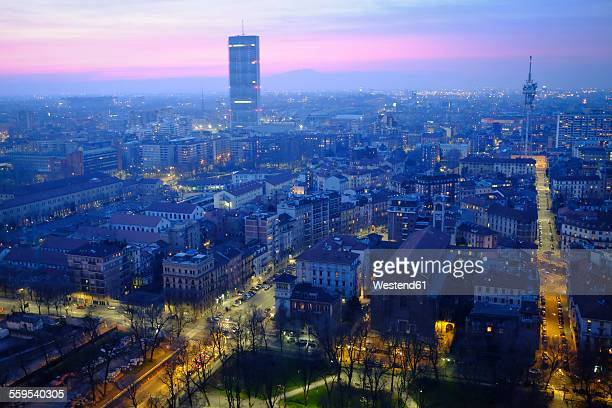 Italy, Milan, cityscape with urban construction project City life