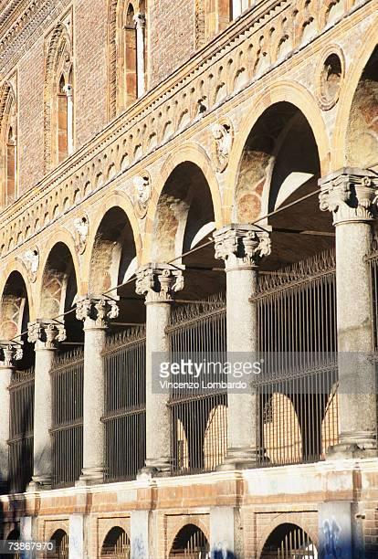 Italy, Milan, Colonnade at University building, close-up
