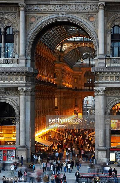 Italy, Milan, Galleria Vittorio Emanuele entrance, elevated view, dusk