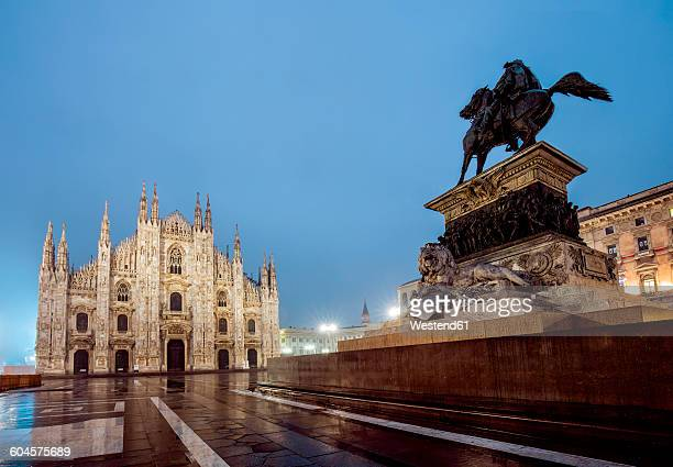 Italy, Milan, Milan Catherdal and monument of Vittorio Emanuele II