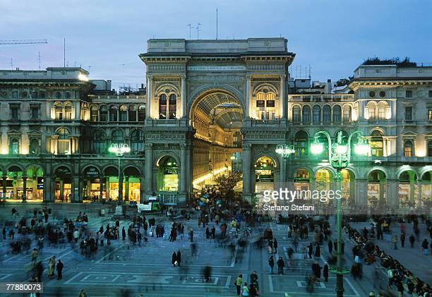 Italy, Milan, Piazza del Duomo, Vittorio Emanuele Gallery at dusk