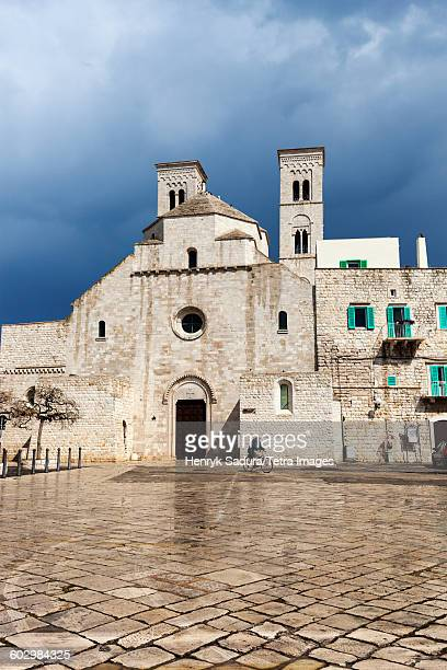 Italy, Molfetta, Historic town square with church