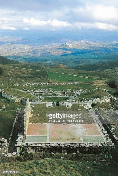 Italy Molise Region Pietrabbondante Ruins of the Samnite monumental complex of the Great Temple and Theatre late 2nd century bC