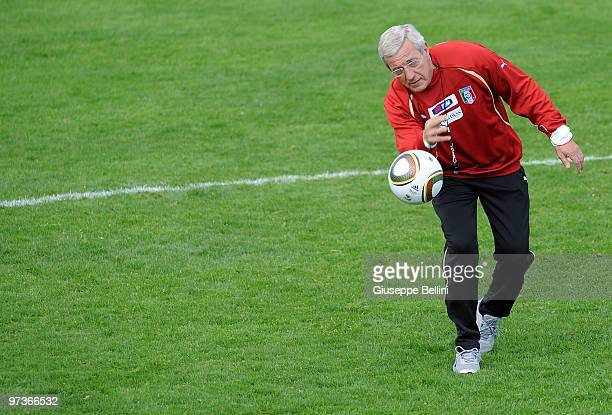 Italy national team coach Marcello Lippi during a training session at FIGC Centre at Coverciano at Coverciano on March 2 2010 in Florence Italy
