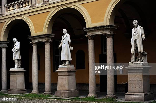 Italy Pavia Courtyard in University of Pavia From left to right statues Luigi Porta Pavese Antonio Maria Bordoni and Bartolomeo Panizza