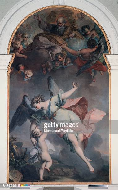 Italy Piedmont Moncalvo Our Lady of Graces Whole artwork view A guardian angel taking care of a child Up in the sky God father surrounded by cherubs
