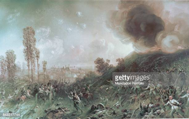 Italy Piedmont Turin Museo Nazionale del Risorgimento Italiano Whole artwork view Austrian army withdrawing toward Pozzolengo during the battle of...