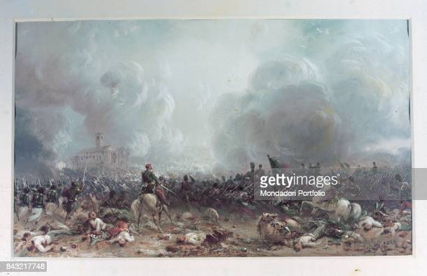 Italy Piedmont Turin Museo Nazionale del Risorgimento Italiano Whole artwork view Fights between the Austrian army and the French Piedmontese one...