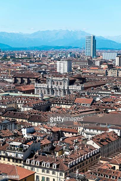 Italy Piedmont Turin Panorama View of the City from the Mole Antonelliana Palazzo Carignano and San Paolo Skyscraper