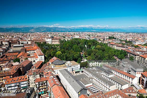 Italy Piedmont Turin Panorama View of the City from the Mole Antonelliana Royal Gardens and Palace