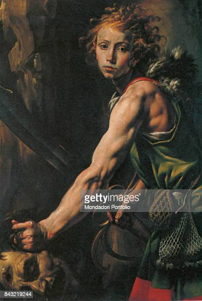 Italy, Piedmont, Varallo, Pinacoteca civica. Detail. The King David of Israel holding by the hair the head of the Philistine giant Goliath that he just beheaded.