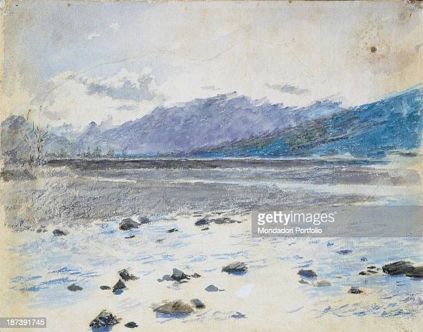 Italy Piedmont Verbania Museo del Paesaggio All Landscape with river and mountains in shades of blue and white