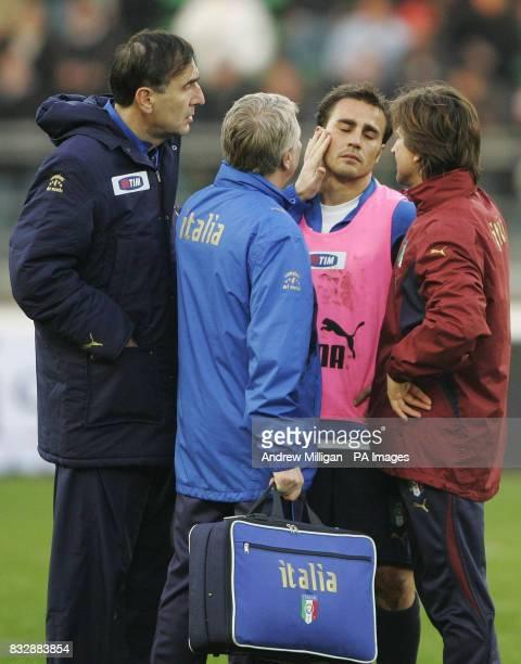 Italy player Favio Cannavaro gets treatment during a training session at the San Nicola Stadium Bari Italy