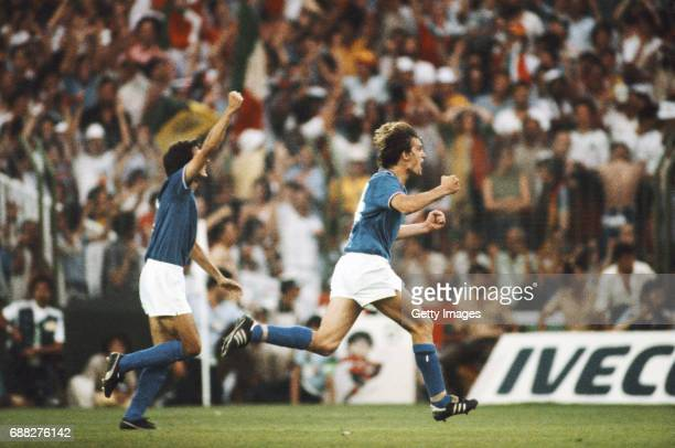 MADRID SPAIN Italy player Marco Tardelli celebrates after scoring the second goal in their 31 victory over West Germany in the 1982 FIFA World Cup...