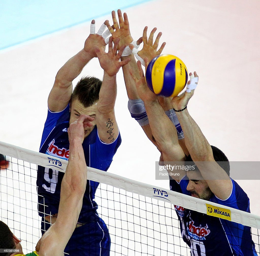 Italy players block during the FIVB World League Final Six match between Australia and Italy at Mandela Forum on July 18, 2014 in Florence, Italy.
