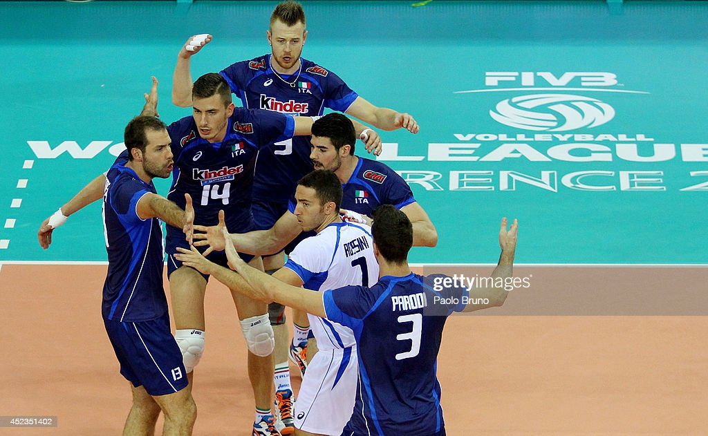 Italy players celebrate during the FIVB World League Final Six match between Australia and Italy at Mandela Forum on July 18, 2014 in Florence, Italy.