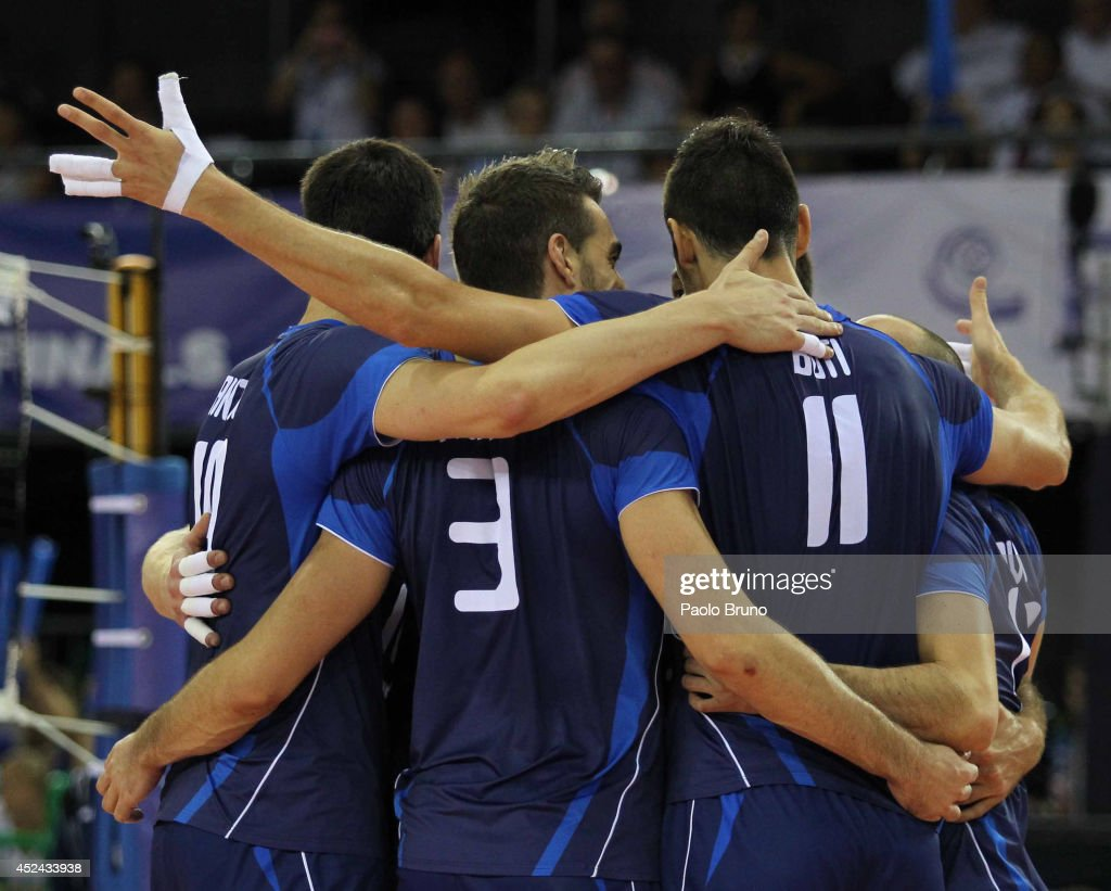 Italy players celebrate during the FIVB World League Final Six match for the third place between Iran and Italy at Mandela Forum on July 20, 2014 in Florence, Italy.