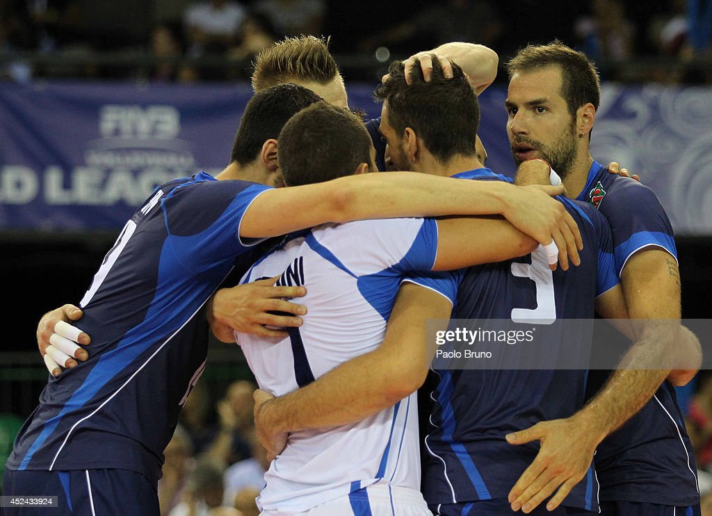 Italy players celebrate the victory after the FIVB World League Final Six match for the third place between Iran and Italy at Mandela Forum on July 20, 2014 in Florence, Italy.