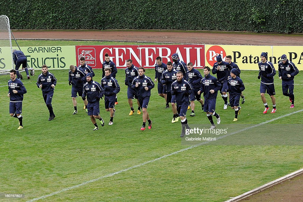 Italy players during a training session at Coverciano on February 5, 2013 in Florence, Italy.