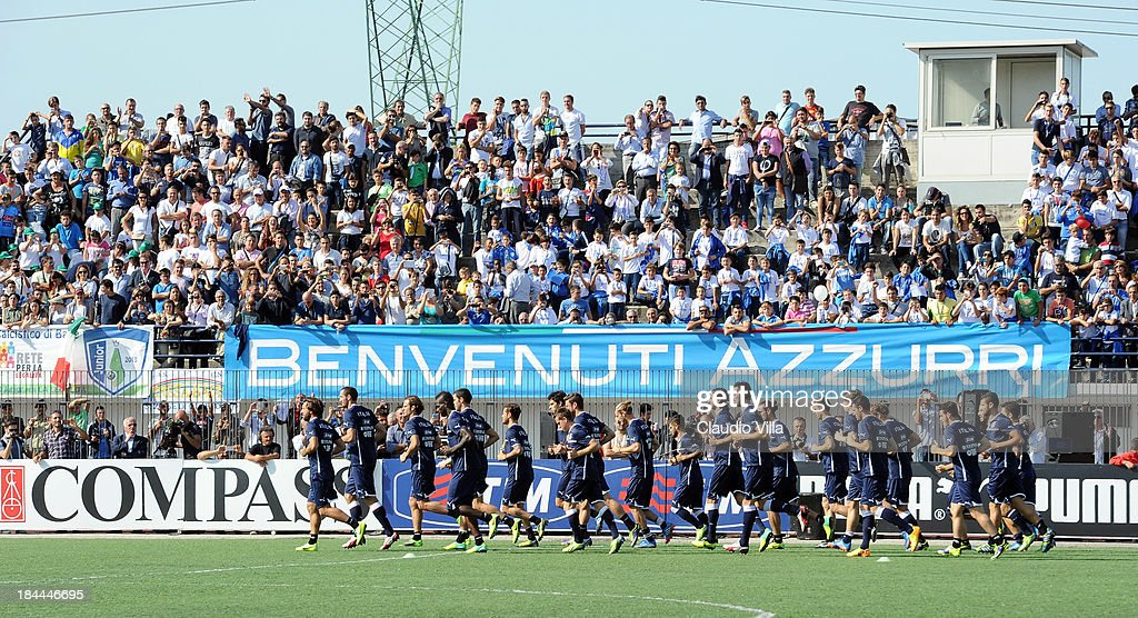 Italy players in action during a training session, ahead of their FIFA World Cup qualifier against Armenia, on October 14, 2013 in Naples, Italy. The training session was organised at Quarto, a football pitch built on land confiscated from the Camorra - the Neapolitan Mafia, as part of the fight against the mafia.