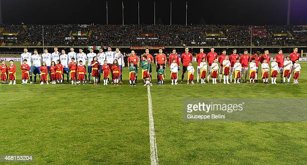 Italy players line up and Serbia players line up before the international friendly match between Italy U21 and Serbia U21 at Stadio Ciro Vigorito on...