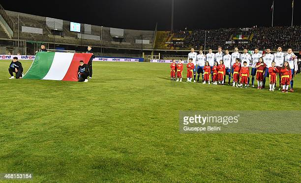 Italy players line up before the international friendly match between Italy U21 and Serbia U21 at Stadio Ciro Vigorito on March 30 2015 in Benevento...