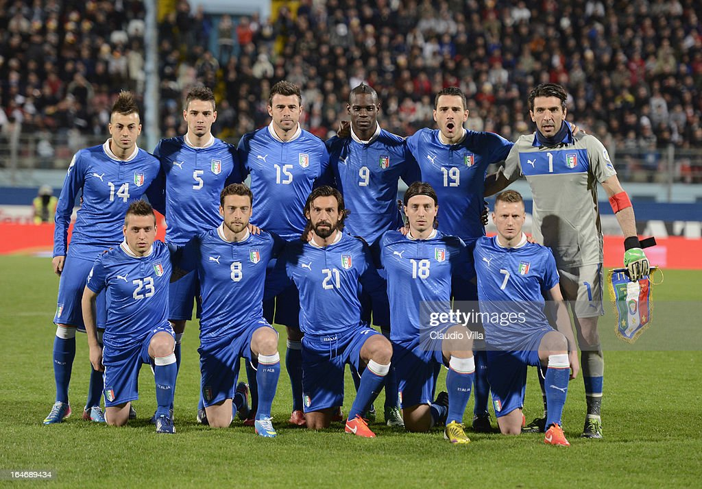 Italy players line up for a team photo before the start of the FIFA 2014 World Cup qualifier match between Malta and Italy at Ta Qali Stadium on March 26, 2013 in Malta, Malta.