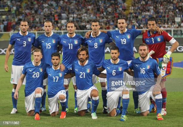 Italy players lineup before the FIFA 2014 World Cup Qualifier group B match between Italy and Bulgaria at Renzo Barbera Stadium on September 6 2013...