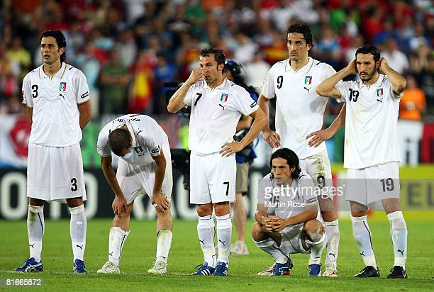 Italy players look on during the penalty shoot out during the UEFA EURO 2008 Quarter Final match between Spain and Italy at Ernst Happel Stadion on...