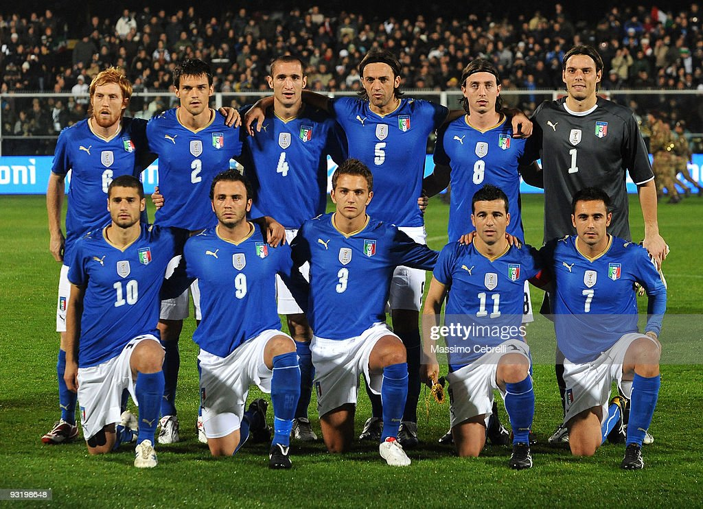 Italy players pose for a team photo prior to the international friendly match between Italy and Sweden at Dino Manuzzi Stadium on November 18, 2009 in Cesena, Italy.