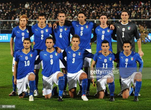 Italy players pose for a team photo prior to the international friendly match between Italy and Sweden at Dino Manuzzi Stadium on November 18 2009 in...