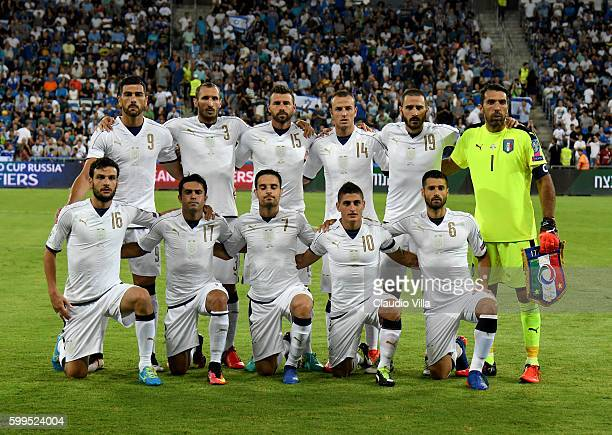 Italy pose for a photo prior to the FIFA 2018 World Cup Qualifier between Israel and Italy at Itztadion Sammy Ofer on September 5 2016 in Haifa