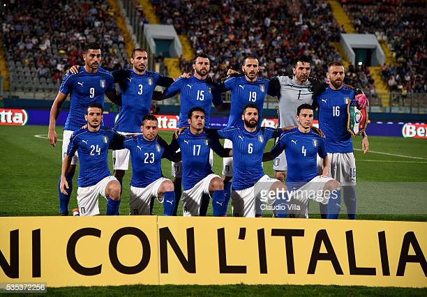 Italy pose for a team photo prior to the international friendly between Italy and Scotland on May 29 2016 in Malta Malta